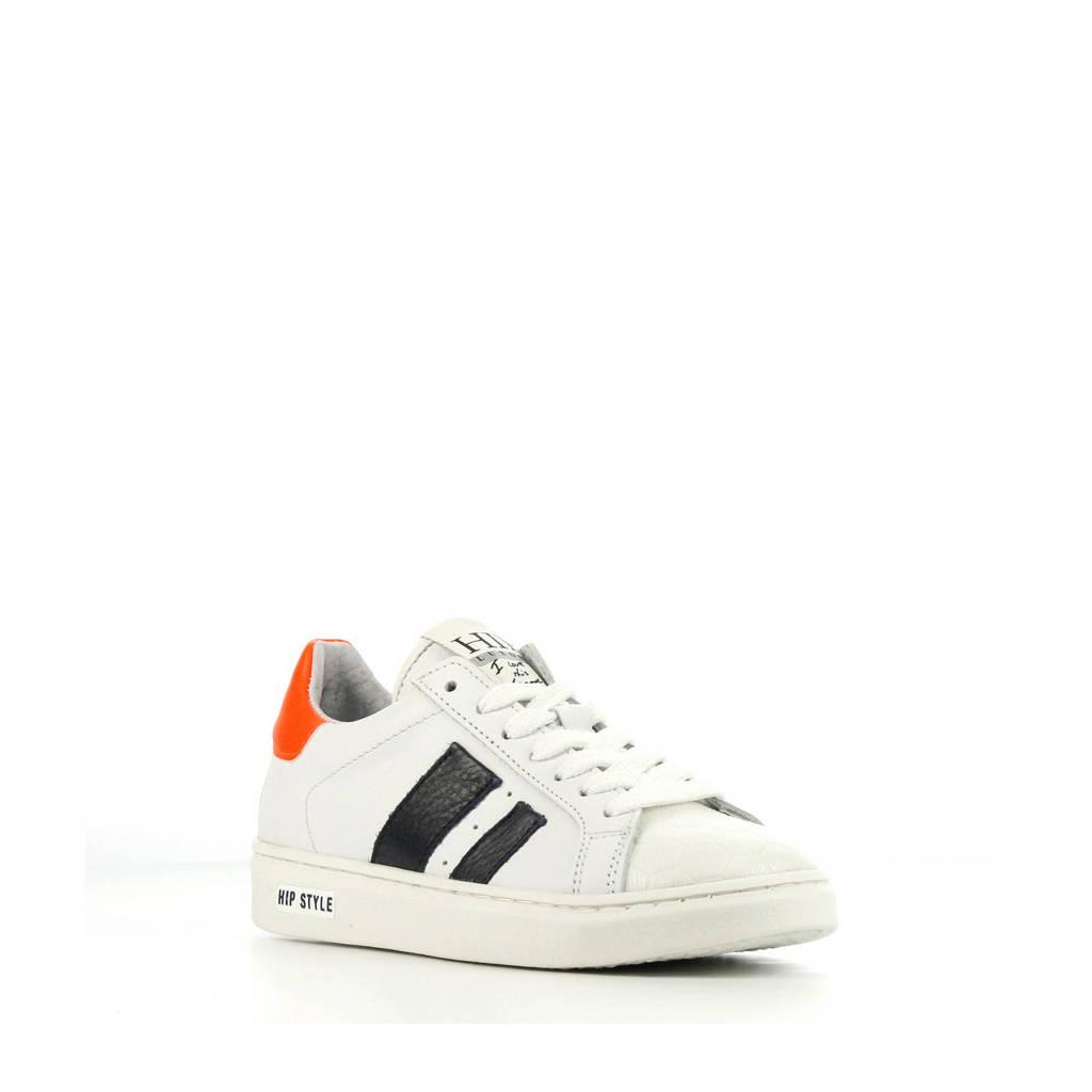 Hip H1832  leren sneakers wit/oranje/blauw, Wit/oranje/blauw
