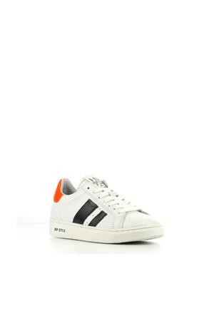 H1832  leren sneakers wit/oranje/blauw