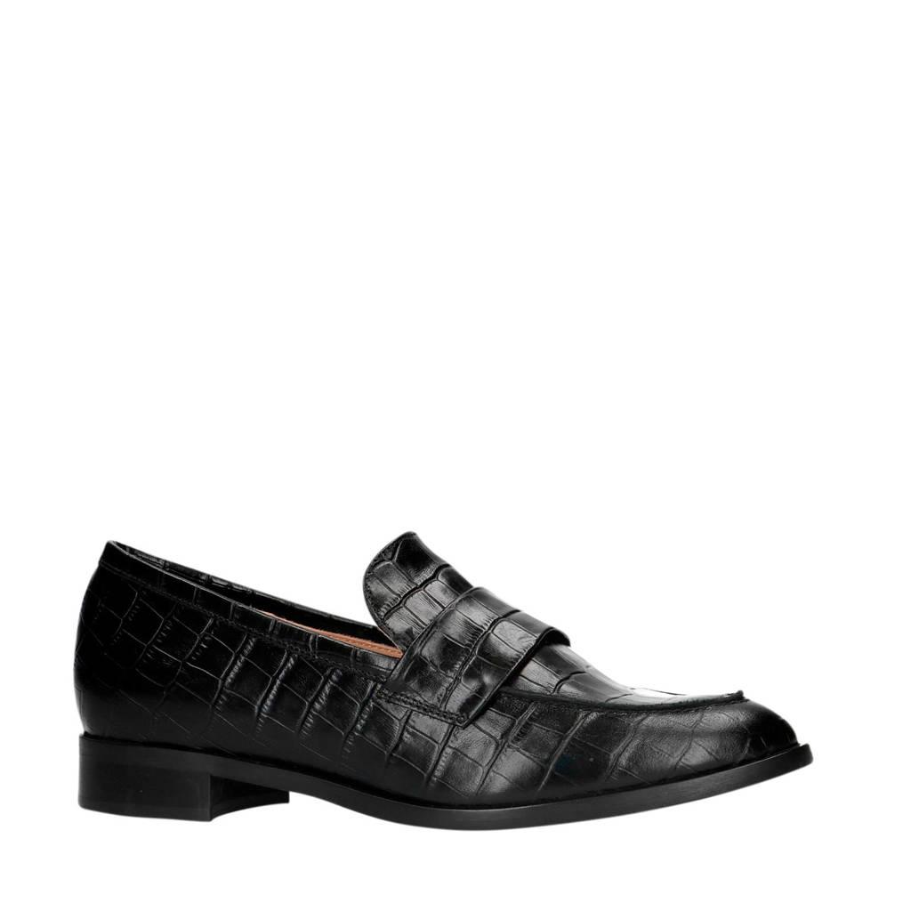 Manfield   leren loafers crocoprint zwart, Zwart