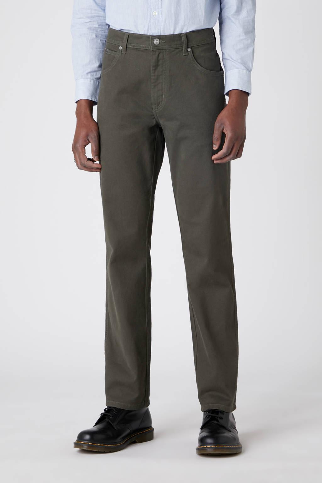 Wrangler straight fit jeans Texas mosgroen, Mosgroen