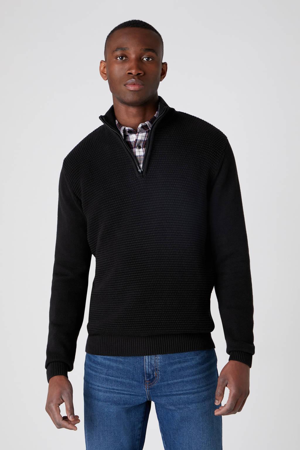 Wrangler trui van biologisch katoen zwart, Zwart