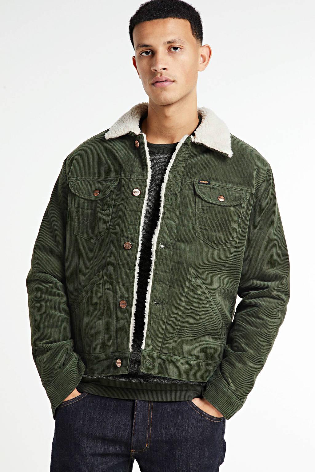 Wrangler corduroy  jas Sherpa groen, Groen