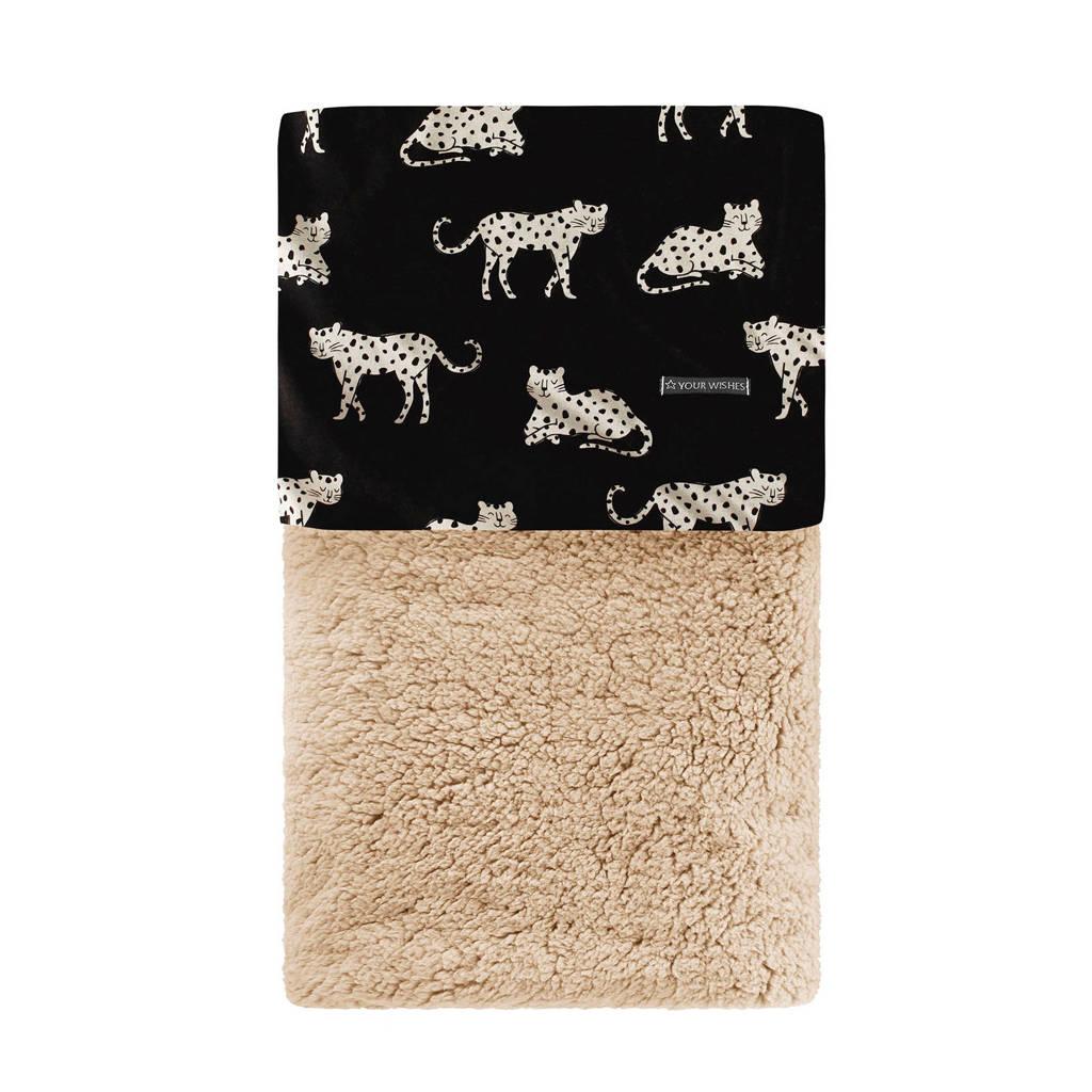 Your Wishes baby wiegdeken Wild Cheetah Teddy 70x100 cm zwart/beige, Zwart/beige