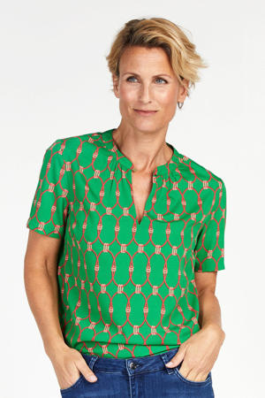 top met all over print groen/rood