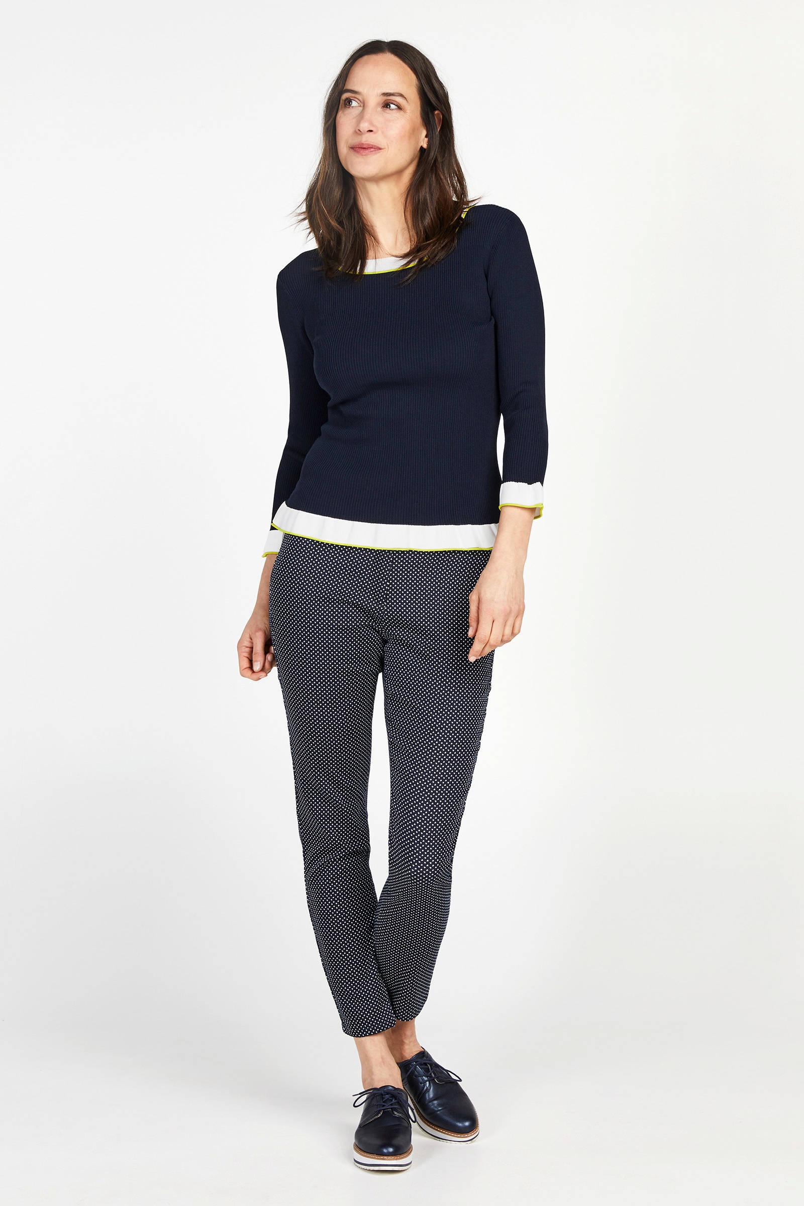 WE Fashion fijngebreide trui met contrastbies petrol   wehkamp
