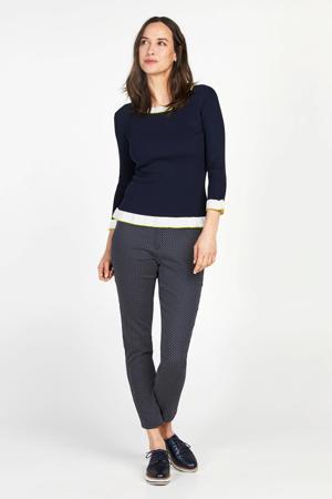 fijngebreide trui met contrastbies blauw