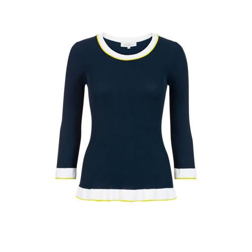 PROMISS fijngebreide trui met contrastbies blauw