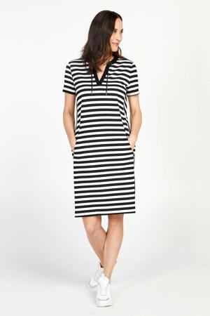 gestreepte jersey jurk met contrastbies en contrastbies zwart/wit
