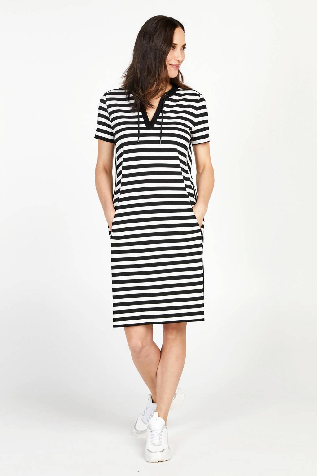 PROMISS gestreepte jersey jurk met contrastbies zwart/wit, Zwart/wit