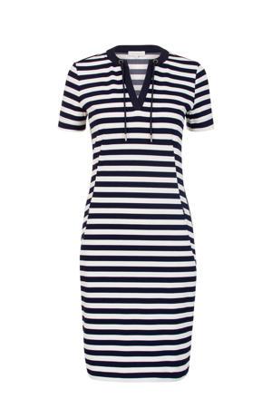 gestreepte jersey jurk met contrastbies en contrastbies blauw/wit