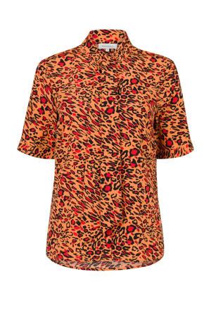 blouse met panterprint oranje