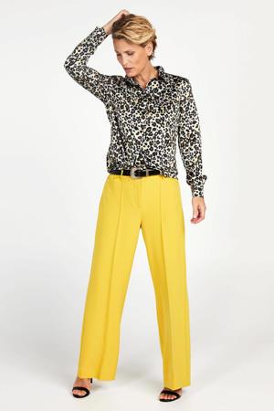 blouse Tranoli met panterprint zwart/bruin/geel