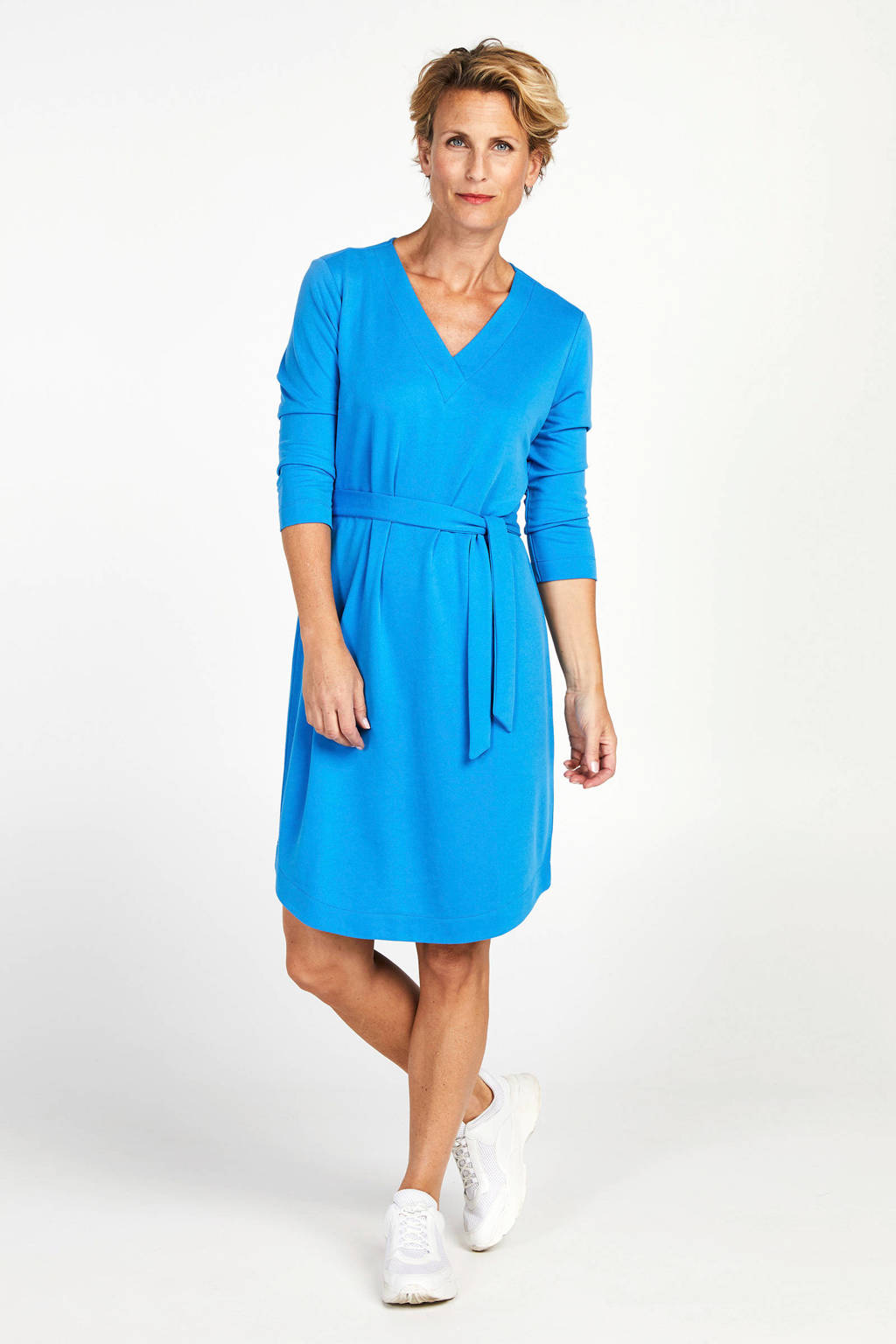 PROMISS jersey jurk en ceintuur blauw, Blauw