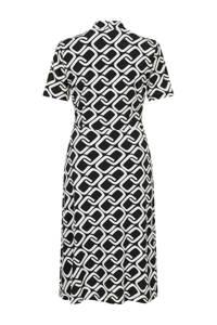 PROMISS jersey jurk met grafische print en plooien zwart, Zwart