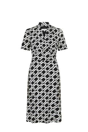 jersey jurk met grafische print en plooien zwart