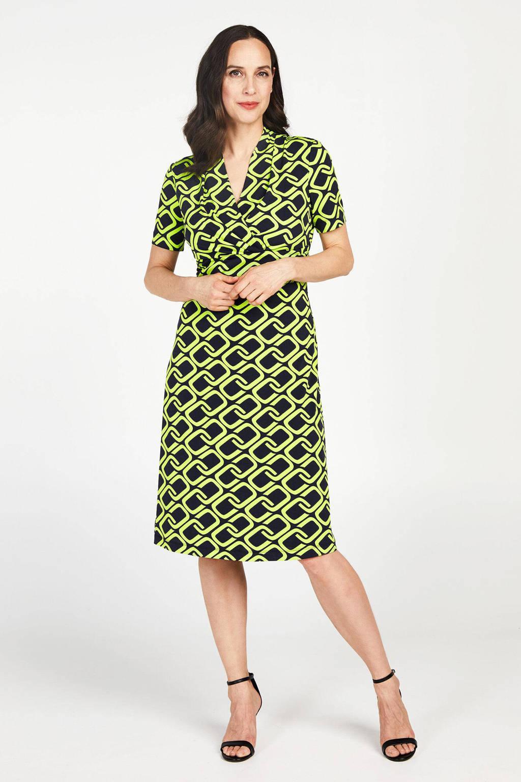 PROMISS jersey jurk met grafische print en plooien groen/zwart, Groen/zwart