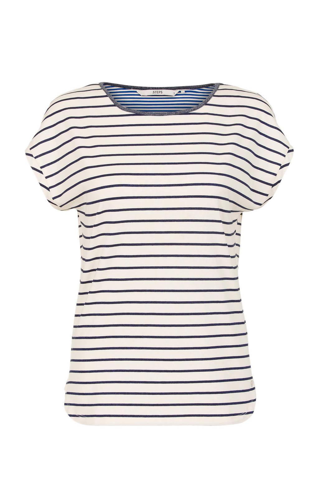 Steps gestreept T-shirt wit, Wit