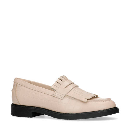 Sacha leren loafers crocoprint beige