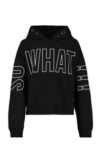 CoolCat Junior hoodie Simone met tekst zwart/wit, Zwart/wit
