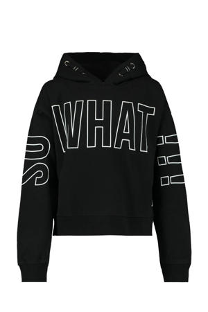 hoodie Simone met tekst zwart/wit