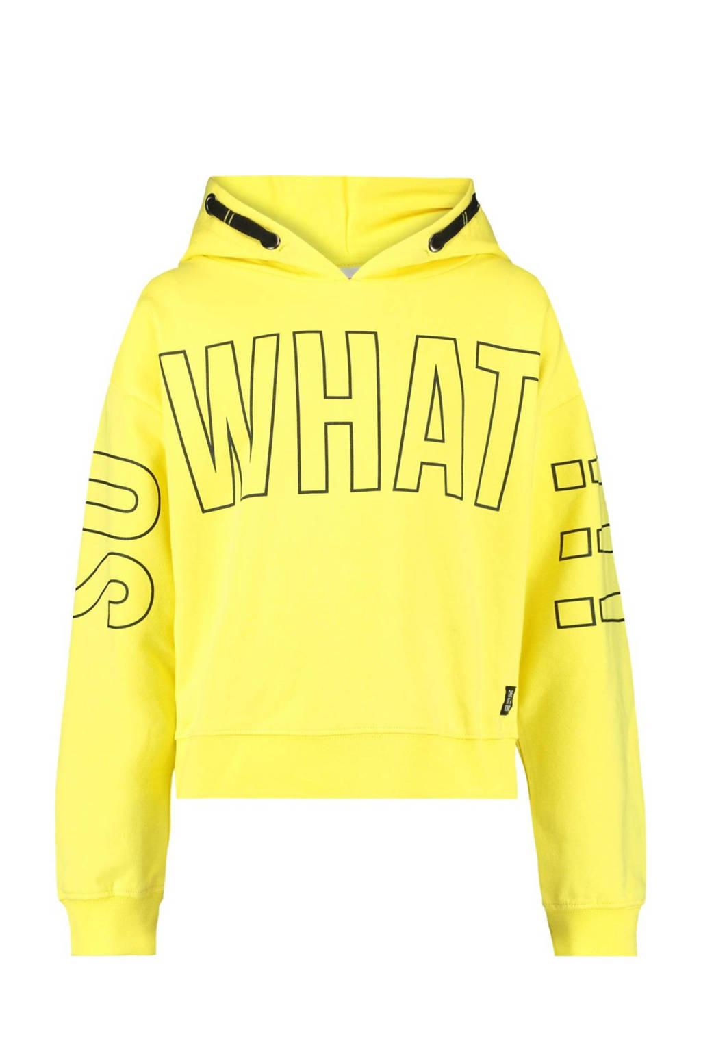 CoolCat Junior hoodie Simone met tekst geel/zwart, Geel/zwart