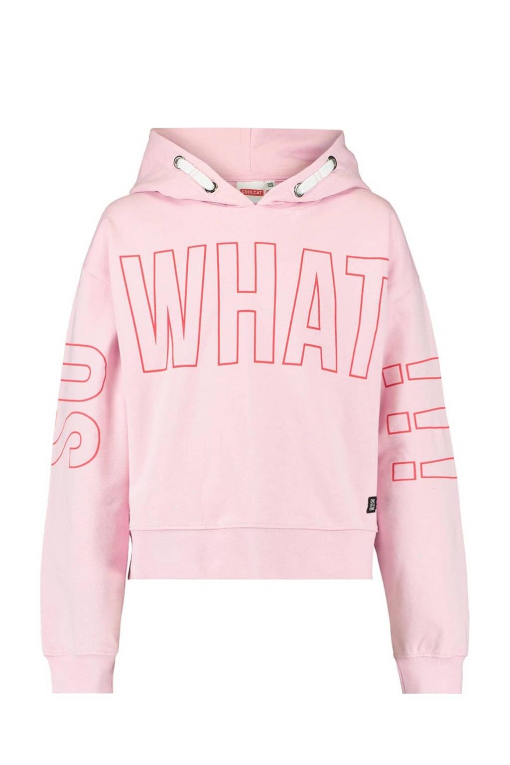 CoolCat Junior hoodie Simone met tekst roze/rood, Roze/rood