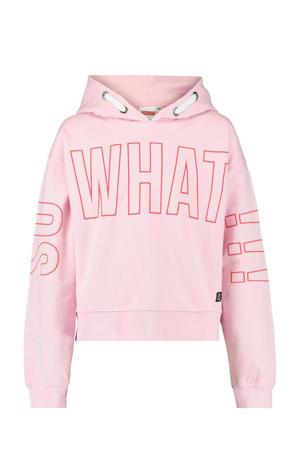 hoodie Simone met tekst roze/rood