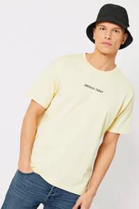 America Today T-shirt met printopdruk light yellow