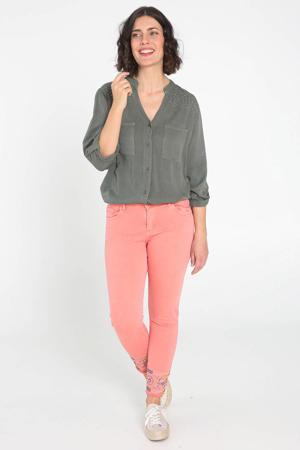 skinny jeans met borduursels zalm