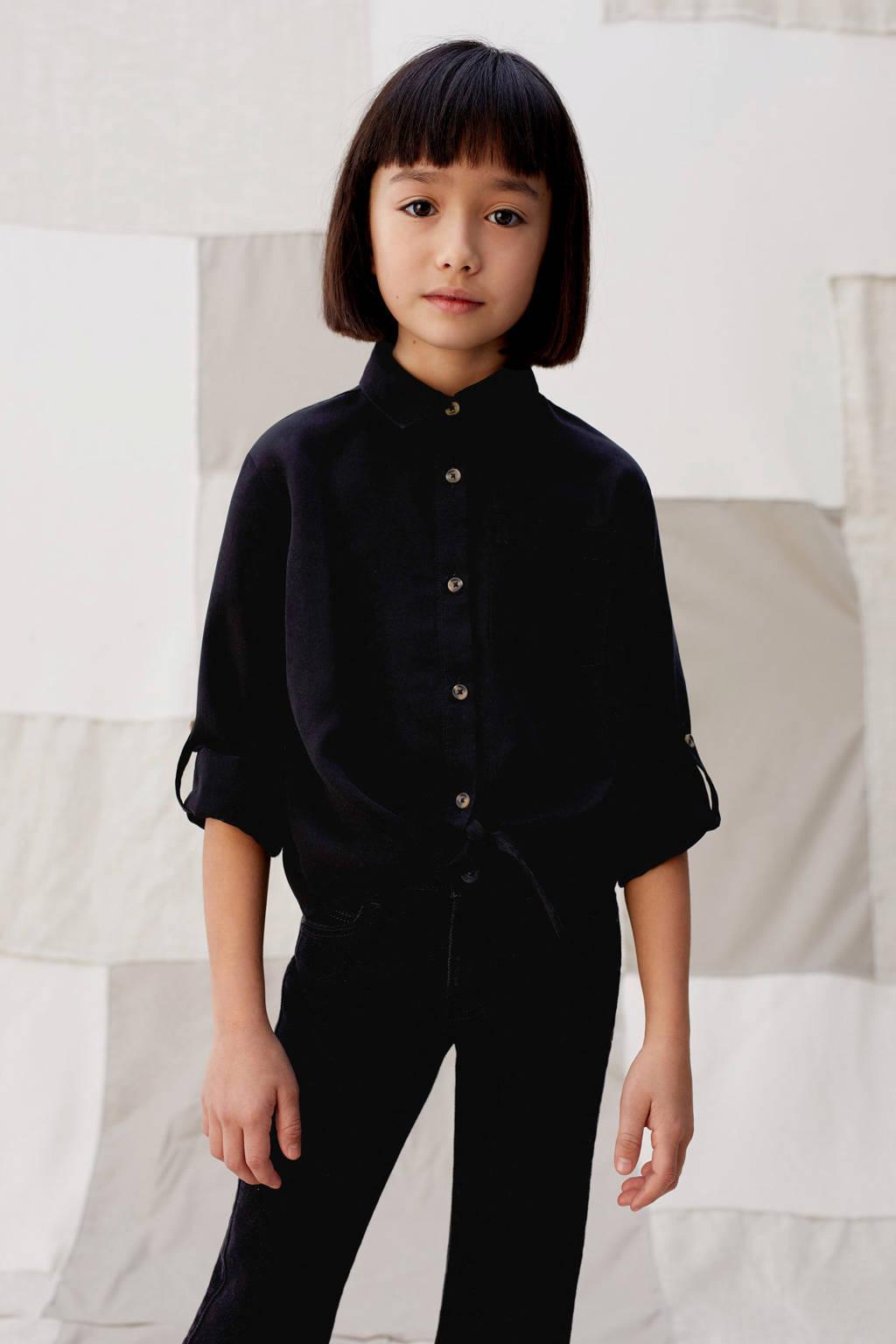 Mango Kids blouse zwart, Zwart