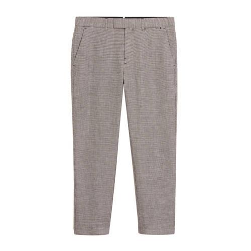 Mango Man geruite linnen slim fit pantalon donkerr