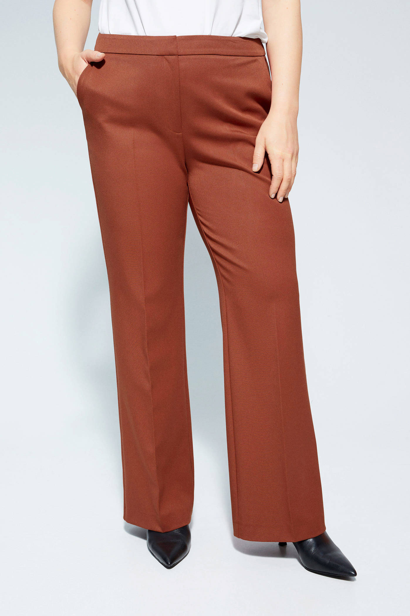 Violeta By Mango High Waist Loose Fit Pantalon Oranje aUypnLvr