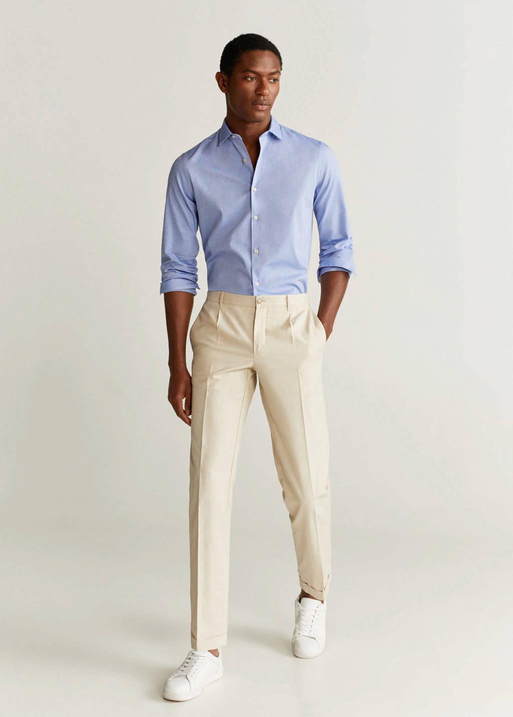 Mango Man slim fit denim overhemd pastelblauw