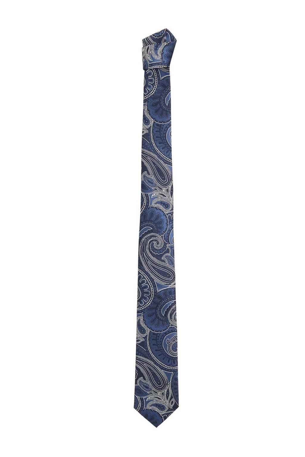 Mango Man stropdas met paisley print blauw, Blauw