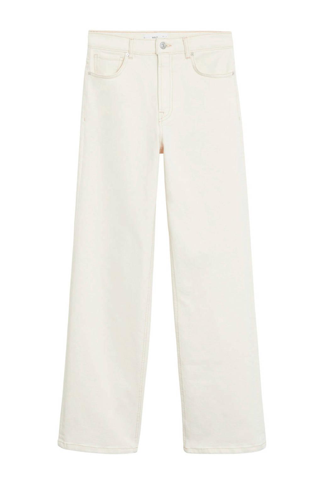 Mango high waist straight fit broek met biologisch katoen ecru, Ecru