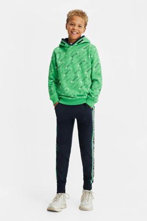 hoodie met all over print groen/wit/blauw