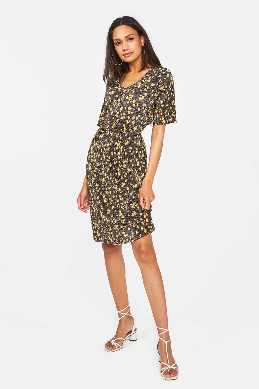 WE Fashion jurk met all over print en ceintuur zwart/geel, Zwart/geel