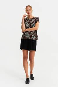 WE Fashion T-shirt met all over print bruin/zwart/wit