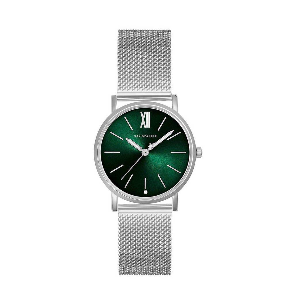 May Sparkle horloge MSB007 zilverkleurig/groen, Zilverkleurig