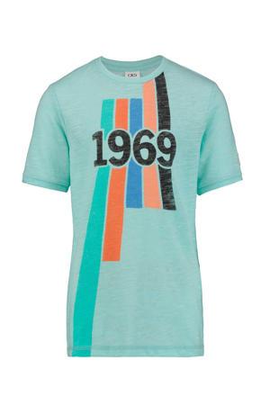 T-shirt Yves met printopdruk mintgroen