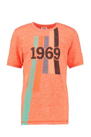 T-shirt Yves met printopdruk oranje