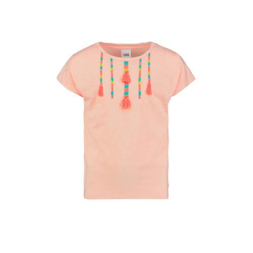 CKS KIDS T-shirt Elberta met borduursels zalmroze/