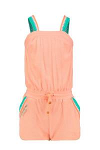 CKS KIDS badstof jumpsuit Ela met borduursels zalmroze/turquoise/ecru, Zalmroze/turquoise/ecru