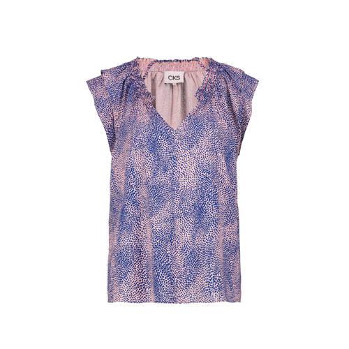 CKS top met all over print blauw/roze