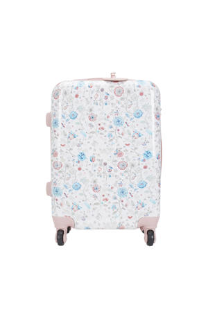 gebloemde koffer wit/roze