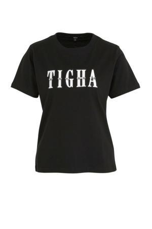 T-shirt met logo en studs zwart/wit