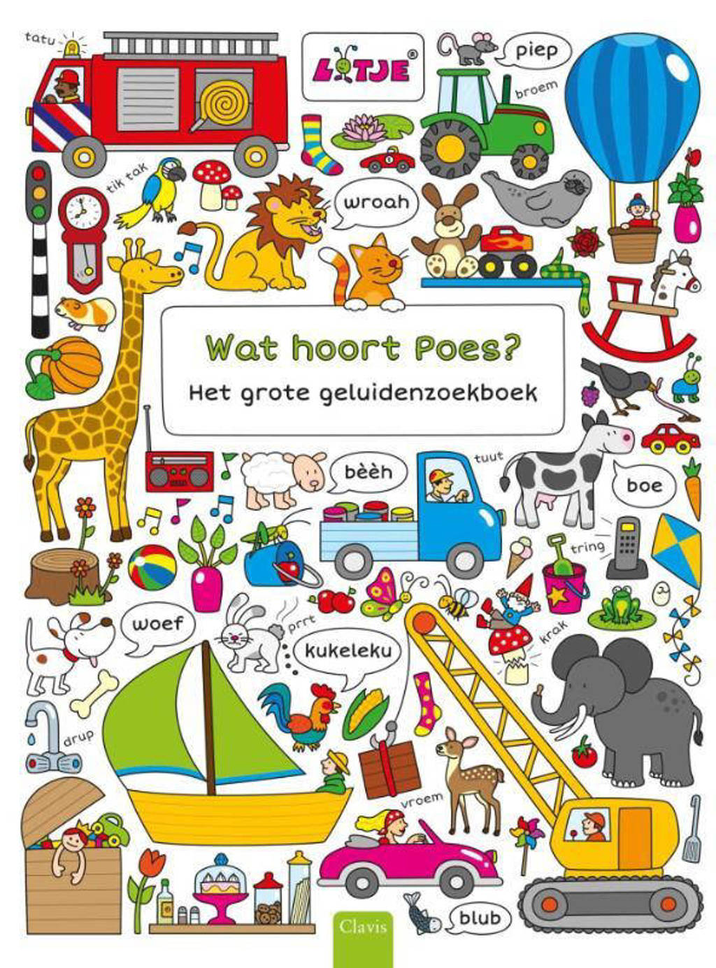 Wat hoort Poes? Het grote geluidenzoekboek - Lizelot Versteeg