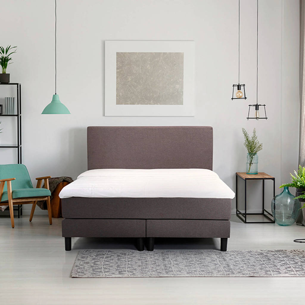 Beter Bed complete boxspring Ambra (120x200 cm), Donkergrijs