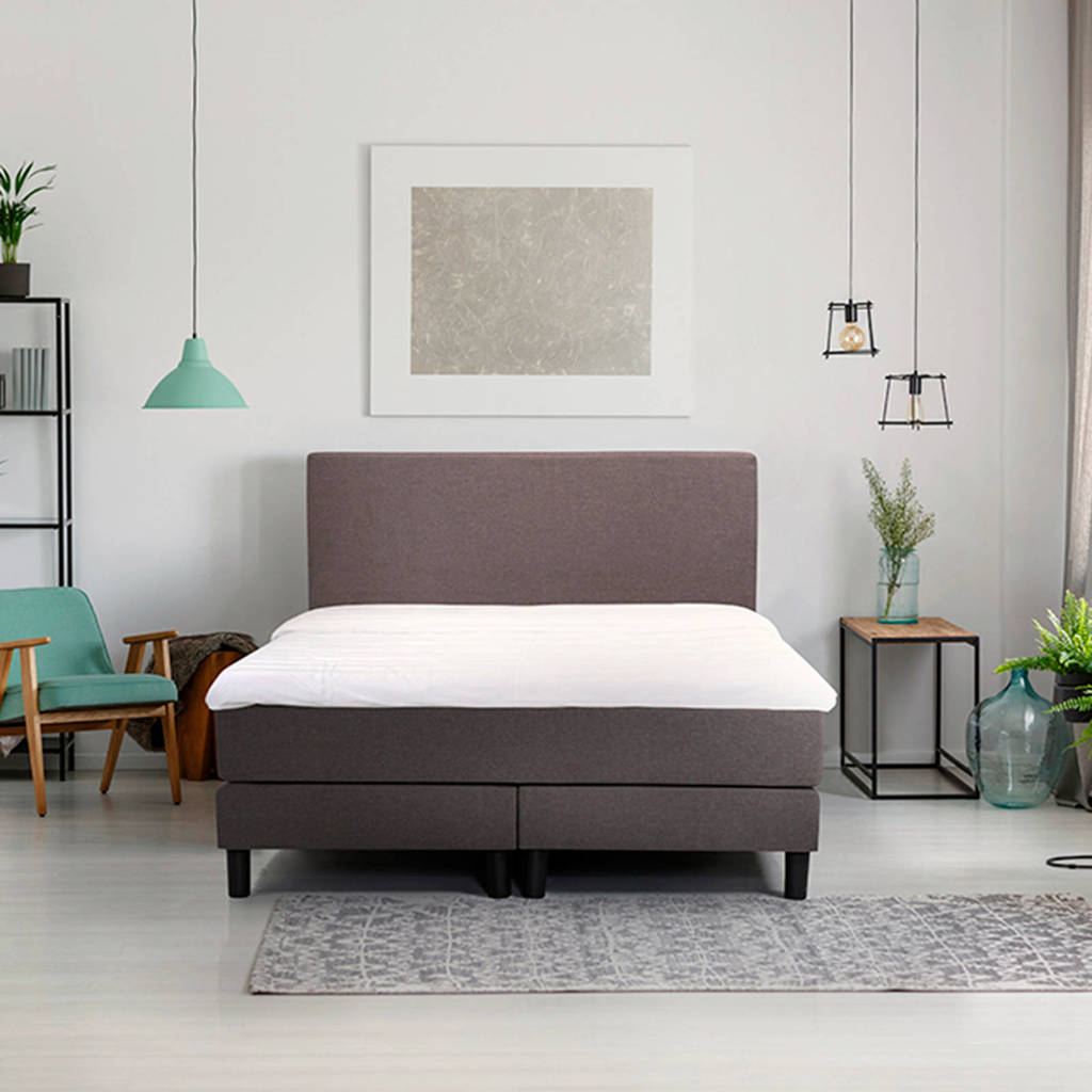 Beter Bed complete boxspring Ambra (160x200 cm), Donkergrijs