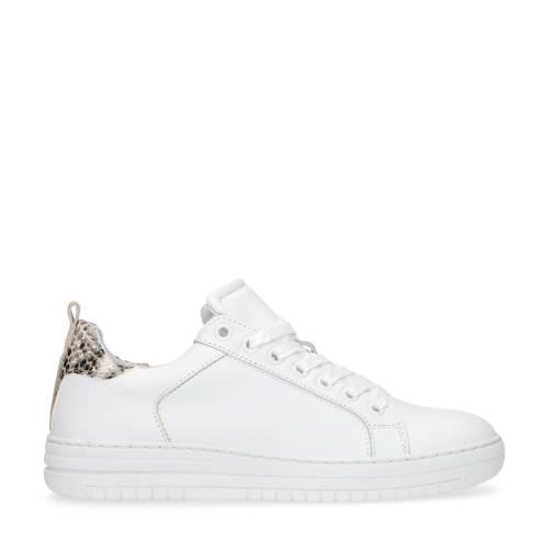 Manfield leren sneakers wit/slangenprint